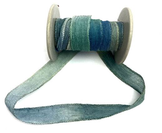 Hand dyed silk ribbons - Splash