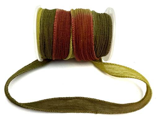 Hand dyed silk ribbons - Sun
