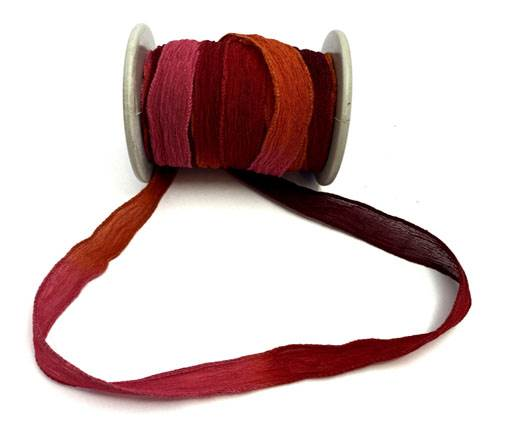 Hand dyed silk ribbons - Sunset