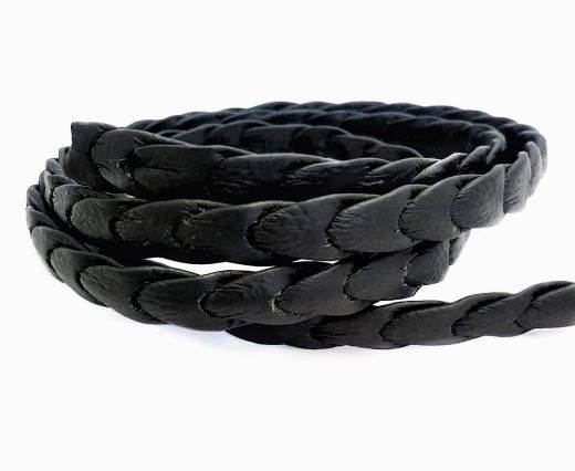 Nappa leather punch style - Shiny Black - 14 mm