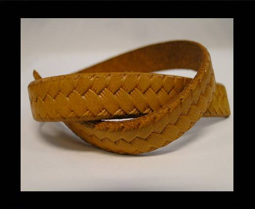 Buy Italian Flat Leather-Braid Yellow at wholesale prices