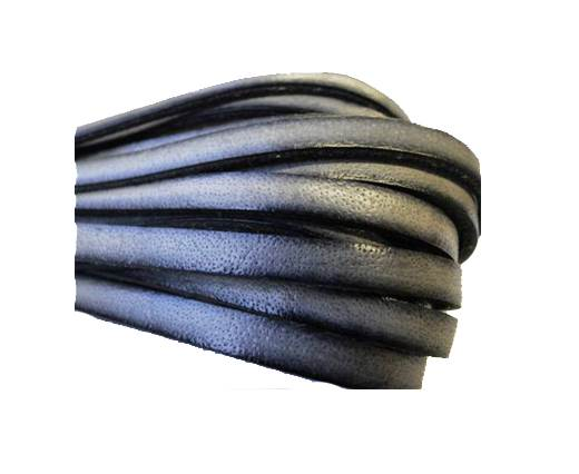 Flat Leather Italian 5mm - Silver with Black Edges