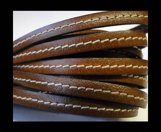 Flat Leather Italian Stitched 5mm - Stitched Brown