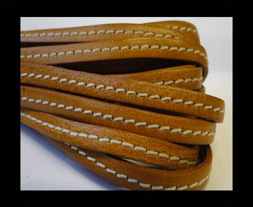 Flat Leather Italian Stitched 5mm - Stitched Brown Yellow
