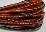 Flat Leather Italian Stitched 5mm - Brick