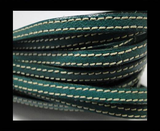 Flat Leather Italian Stitched 5mm - Green