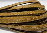Flat Leather Italian Stitched 5mm - Light Brown