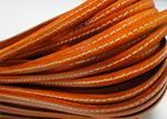 Flat Leather Italian Stitched 5mm - Orange