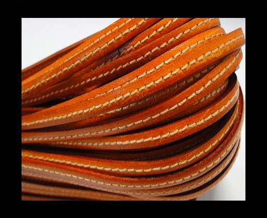 Flat Leather Italian Stitched 5mm - Orange