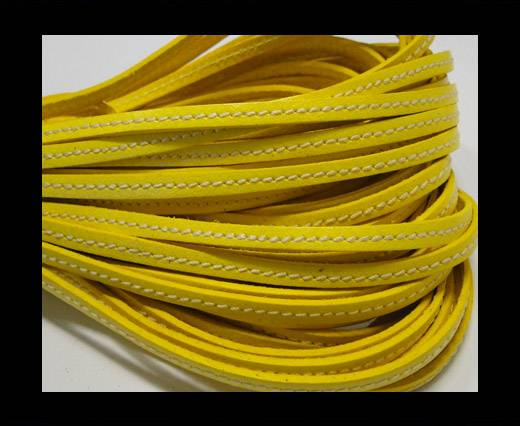Flat Leather Italian Stitched 5mm - Yellow