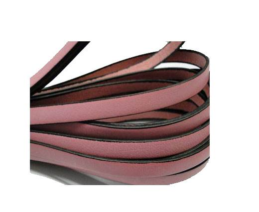 Italian Flat Leather-Black Edges - Baby Pink