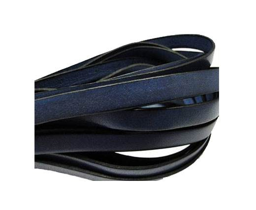 Italian Flat Leather-Black Edges - Dark Blue