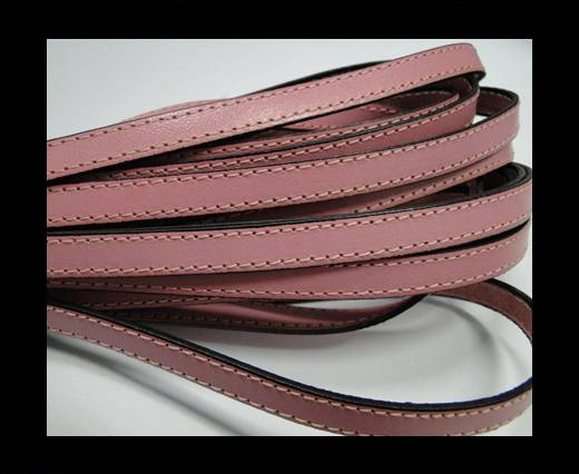 Italian Flat Leather-Double Stitched - Black Edges - Baby Pink