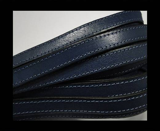 Italian Flat Leather-Double Stitched - Black edges - Dark Blue