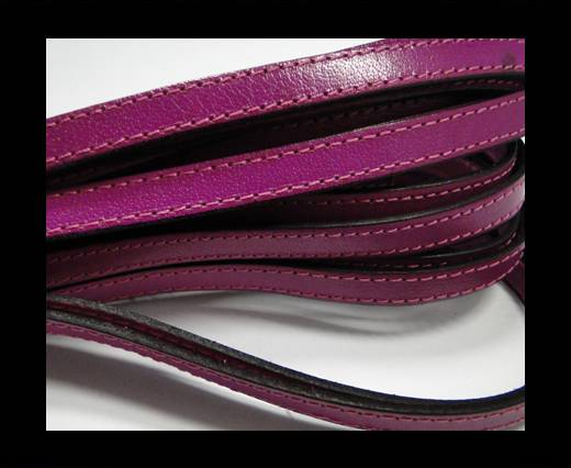 Italian Flat Leather-Double Stitched - Black edges - Fuchsia