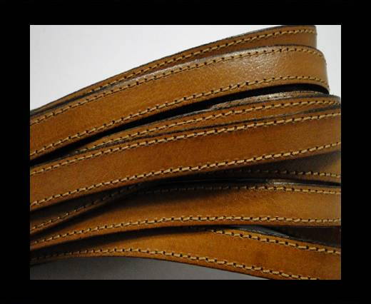 Italian Flat Leather-Double Stitched - Black edges - Hazelnut
