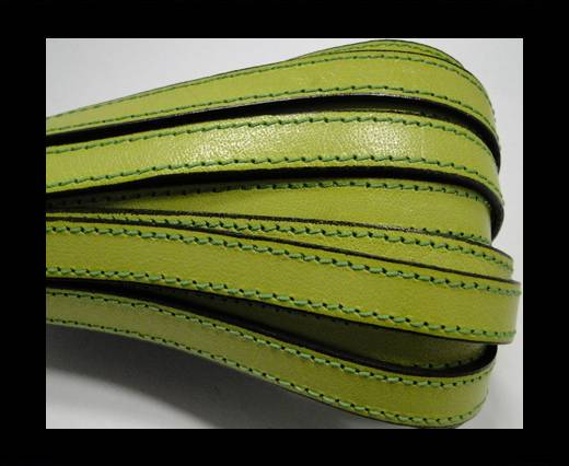 Italian Flat Leather-Double Stitched - Black edges - Pistachio