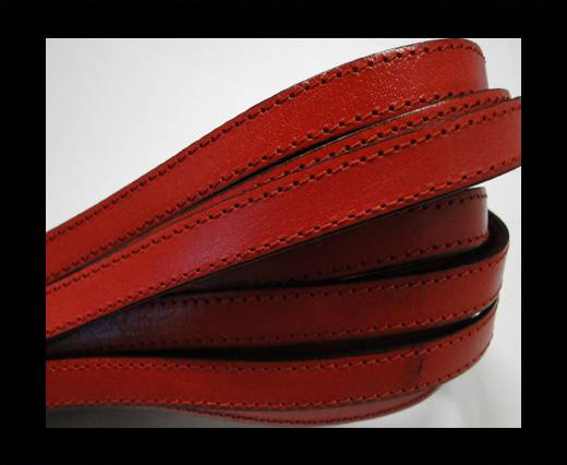 Italian Flat Leather 10mm-Double Stitched - Black edges - Red