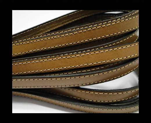 Italian Flat Leather 10mm-Double Stitched - Black edges - Sand