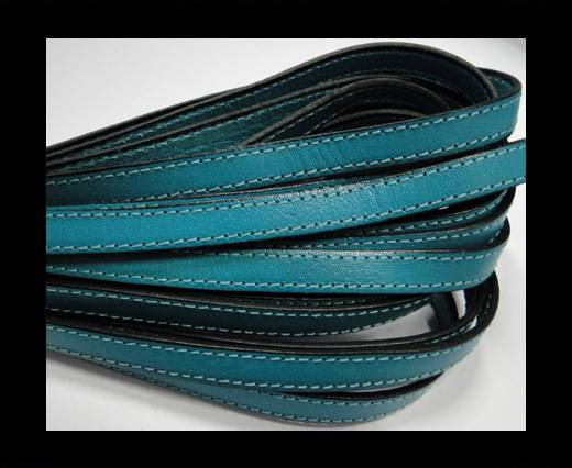 Italian Flat Leather-Double Stitched - Black edges - Sea Blue