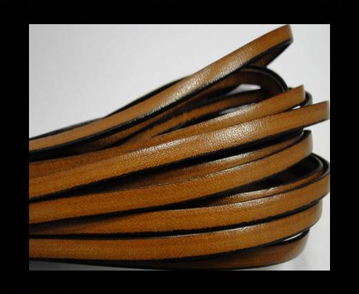 Flat leather Italian - 5 mm - Black edges - Cinnamon
