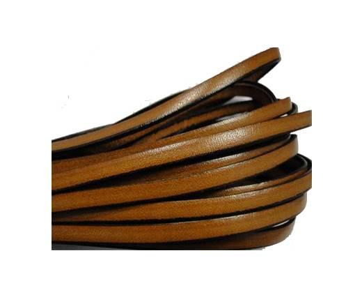 Flat leather Italian - 5 mm - Black edges - Cinnamon
