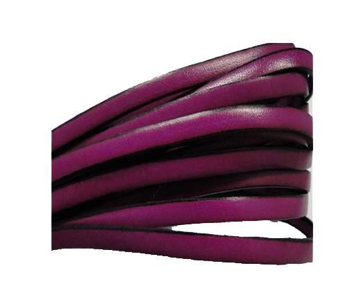 Flat leather Italian - 5 mm - Black edges - Fuchsia