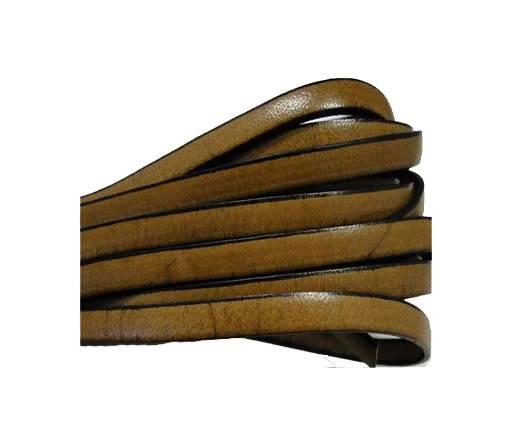 Flat leather Italian - 5 mm - Black edges - Hazelnut