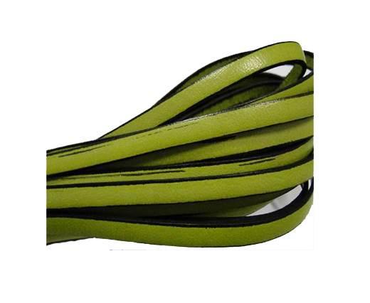 Flat leather Italian - 5 mm - Black edges - Pistachio