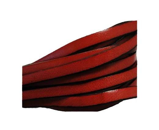 Flat leather Italian - 5 mm - Black edges - Red