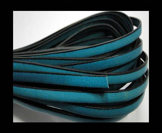 Flat leather Italian - 5 mm - Black edges - Sea Blue