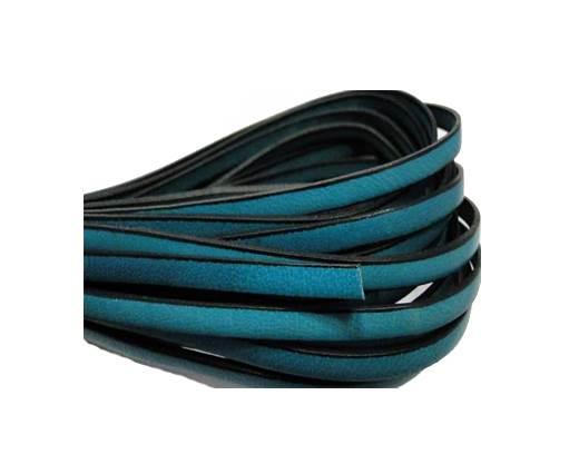 Flat leather Italian - 5 mm - Black edges - Sea Blue