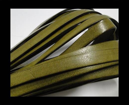 Buy Italian Flat Leather 10mm-Olive Green at wholesale prices