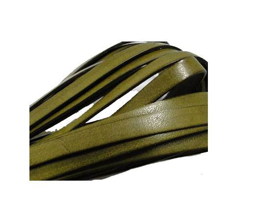 Italian Flat Leather 10mm-Olive Green