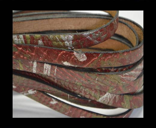 Buy Italian Flat Leather 10mm-Snake gold-maroon at wholesale prices