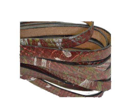 Italian Flat Leather 10mm-Snake gold-maroon