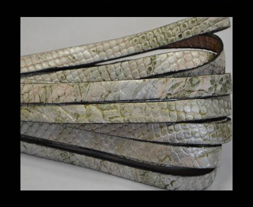 Buy Italian Flat Leather 10mm-Snake silver-green at wholesale prices