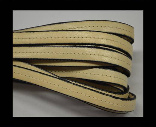 Italian Flat Leather-Center Stitched - Black edges - Cream