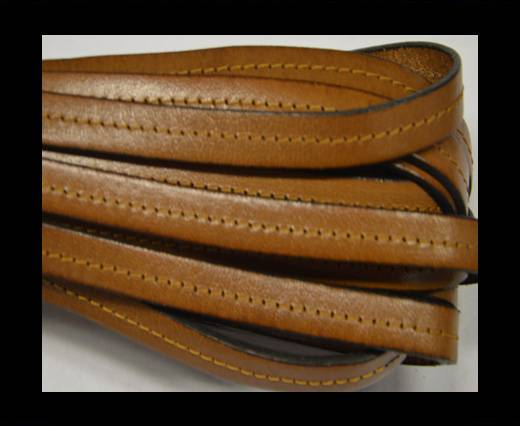 Italian Flat Leather-Center Stitched - Black edges - Brown