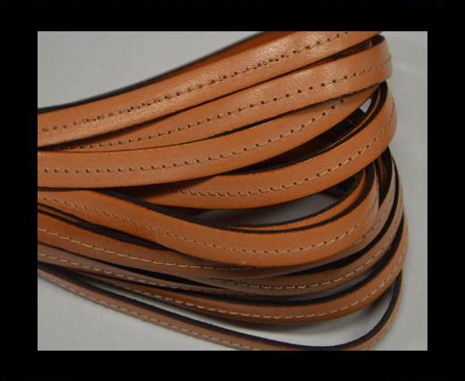 Italian Flat Leather-Center Stitched - Black edges - light orang