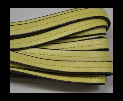 Italian Flat Leather-Center Stitched - Black edges - Light yello