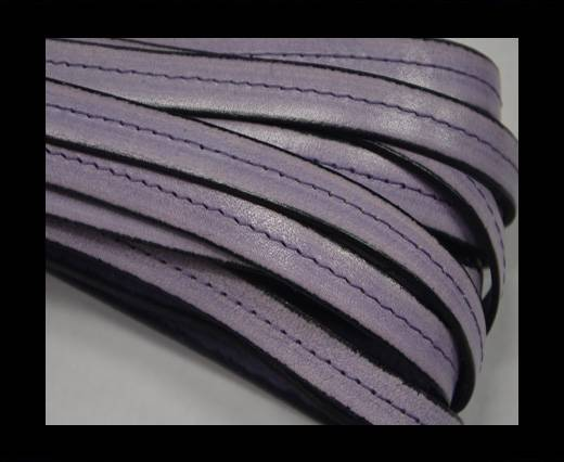 Italian Flat Leather-Center Stitched - Black edges - Purple