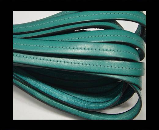 Italian Flat Leather-Center Stitched - Black edges - turquoise