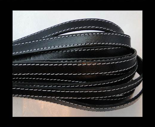 Italian Flat Leather- black with white stitches