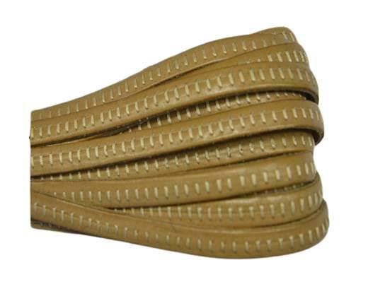 Italian Flat Leather- Horz Stitched - Beige