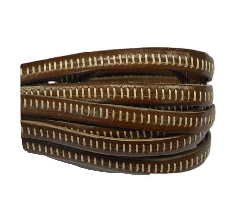 Italian Flat Leather- Horz Stitched - Brown