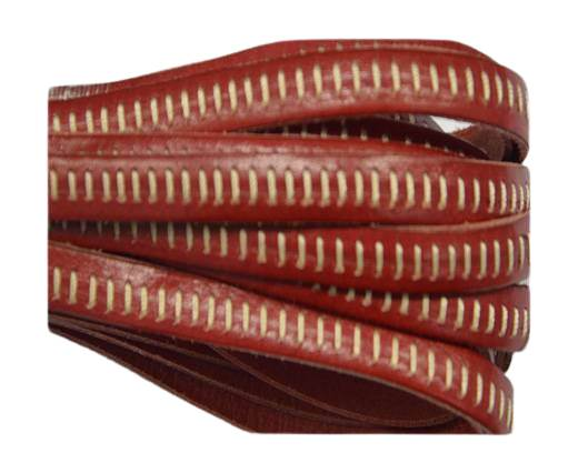 Italian Flat Leather- Horz Stitched - Red