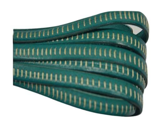 Italian Flat Leather- Horz Stitched - Turquoise