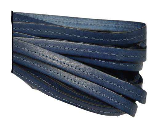Italian Flat Leather-Center Stitched - Black edges - Blue