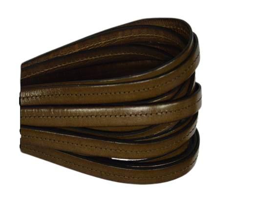 Italian Flat Leather-Center Stitched - Black edges - Chocolate